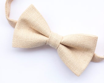 6c77d64f65f9 Champagne cream textured bow tie for men, pre-tied mens cream bowtie