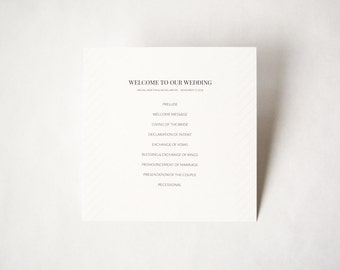 Wedding Program for a Vintage Winter Wedding | Light Florals | Square