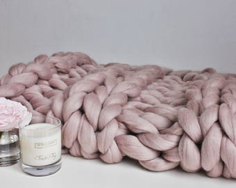 Chunky Knit Blanket Blush Pink, Chunky Knit Throw, Blush Merino Blanket, Giant Knit Blanket, Pink Throw, Housewarming Gift, Wool Throw