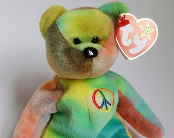 Extremely Rare Deutschland tag 1996 Peace Beanie Baby with many Errors! NW Toy, Mint condition with Mint Tags! Collectible bear, LIVToyShop