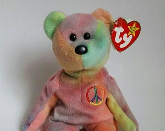 c9927d5ed4d Ty Original PEACE Beanie Baby Bear with Multiple Errors