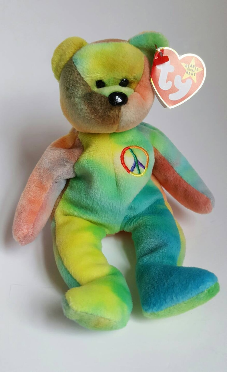 Rare TY PEACE Bear Beanie Baby with Errors  b0db3c771dd5