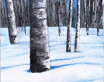 "Landscape painting, small winter scene of aspen trees in snow, acrylic on 6"" x 6"" panel, north woods art, cabin decor"