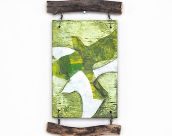 Mixed media wall art assemblage, abstract birds in flight, reclaimed wood, natural branches, green and white