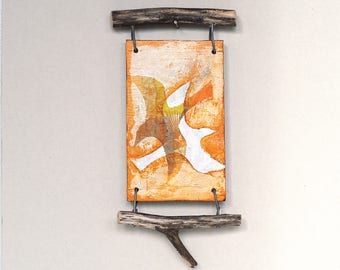 Mixed media wall art assemblage, abstract birds in flight, reclaimed wood, orange and white