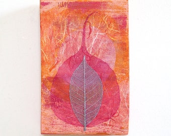 Leaf wall art, mixed media on small reclaimed wood block, abstract collage with pink and silver leaves, zen decor, minfulness