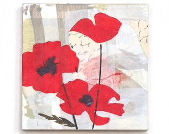 Mixed media collage art, red poppies on small wooden panel, 5x5, bright scarlet flowers on abstract neutral background, original wall art