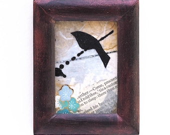 Mixed media collage, bird art, small original collage in repurposed frame, blackbird, aceo