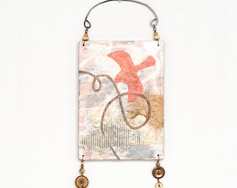 Mixed media wall art, reclaimed plywood assemblage with abstract bird collage, coral and neutral colors, zen decor