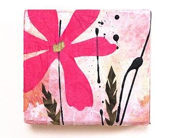 Mixed media flower wall art, reclaimed wood block, collage, bright pink flower decor, cheerful, handmade original