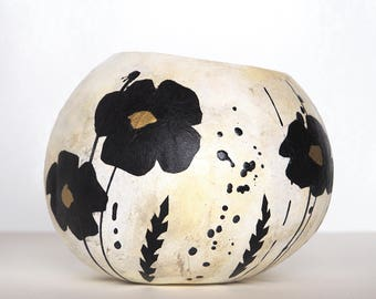 Mixed media painted gourd art, decorative bowl, abstract collage with black poppies, boho decor