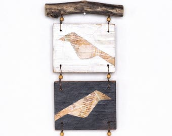 Mixed media wall art, small reclaimed wood assemblage with two birds, natural branches, bird art