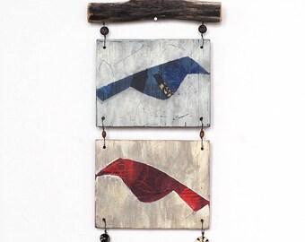Mixed media wall art, small reclaimed wood assemblage with two birds, branch and beads, rustic outsider art
