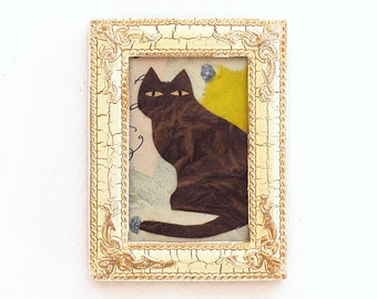 Mixed media art, cat collage in repurposed frame, original aceo, whimsical, gift for cat lover