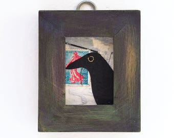 Mixed media collage, raven art, small original collage in repurposed frame, bird, aceo