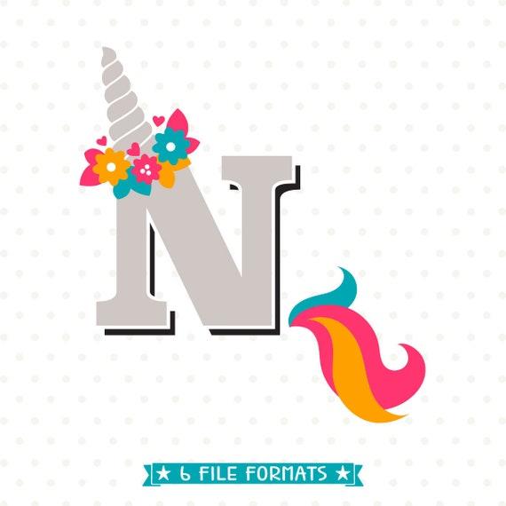 Letter N Svg Unicorn Monogram Heat Transfer Design Unicorn