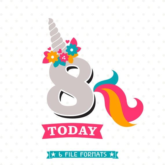 8 Geburtstag Svg Einhorn Geburtstag Eisen Auf 8 Geburtstag Etsy