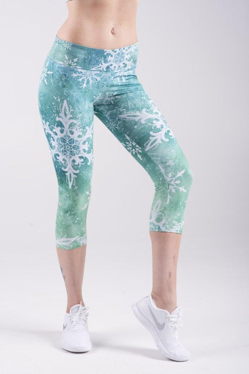 1c35480f909607 CAPRI LEGGINGS Snow Flake Leggings GREEN Mandala leggings | Etsy