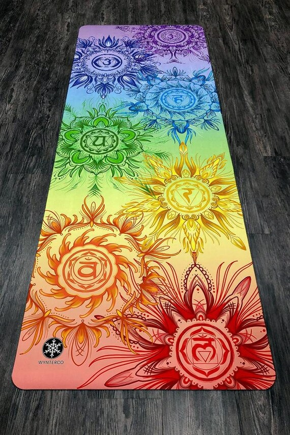 Yoga Mat Chakra Rainbow Chakra Yoga Mat Seven Chakras Etsy