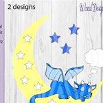 Dragon on the moon, baby dragon svg, Nursery dragon, baby gift, newborn svg, dxf file, svg cricut file, vinyl craft, wall decor, Scanncut