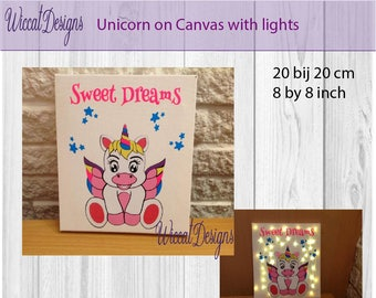 Unicorn wall decor, with lights, led lights, nursery decor, Birthday gift, Christmas gift, newborn gift, unicorn on canvas, baby shower gift