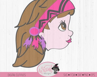 Boho Indian girl svg,  svg, Native Girl svg, headband svg, girls svg, girl face Character, svg for cricut, kids svg, scanncut