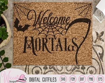 Welcome mortals, doormat design, Halloween quote, halloween sign svg, scythe and bats, cricut svg, scanncut files, halloween decoration