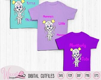 Mummie girl svg, Monsterly cute, Little monster svg, mummy svg, Halloween kids, cartoon monster, scanncut fcm, vinyl craft, cricut svg,