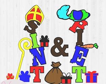 Sint & Piet word art window decoration, 5 december holiday, scanncut fcm file, cricut, silhuette file, vinyl craft, plotter file