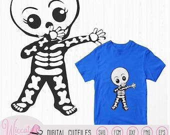 Cute dabbing skeleton, boy skeleton, girl skeleton, Halloween DIY decoration, scanncut fcm, svg cricut, vinyl craft toddler, paper craft