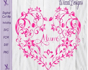 Mothers Day Flower Heart Svg Floral Lace Cut File Shadow Box Mom Dxf Scanncut Vinyl Grandma