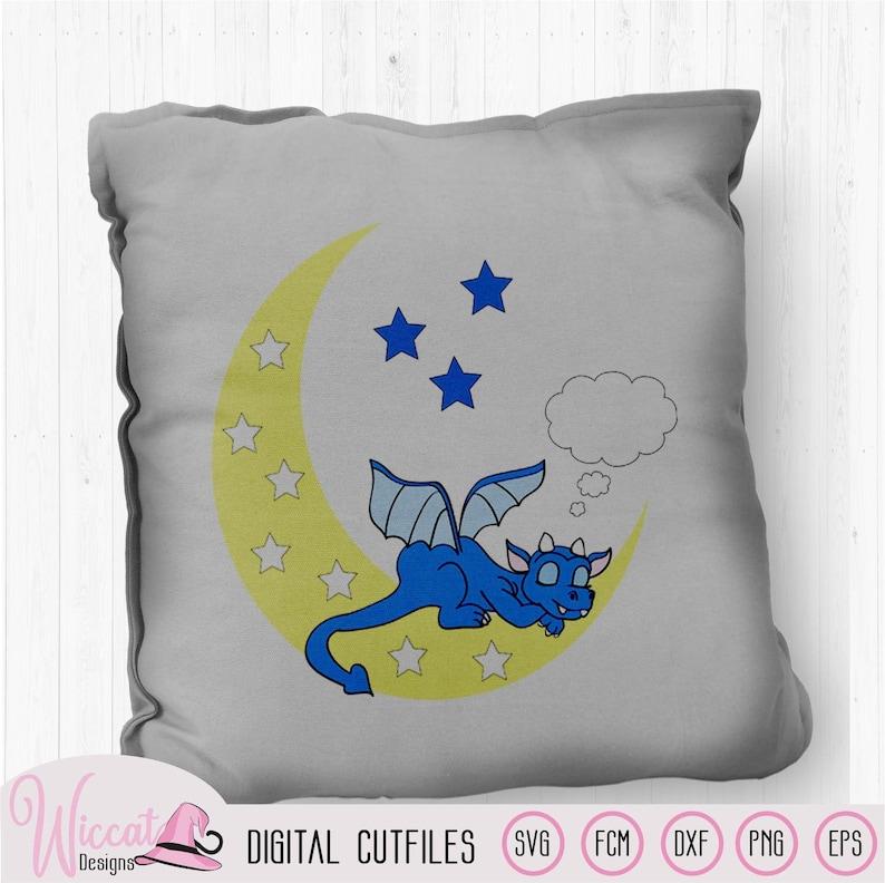Sleeping Dragon on the moon baby dragon svg Nursery dragon image 0