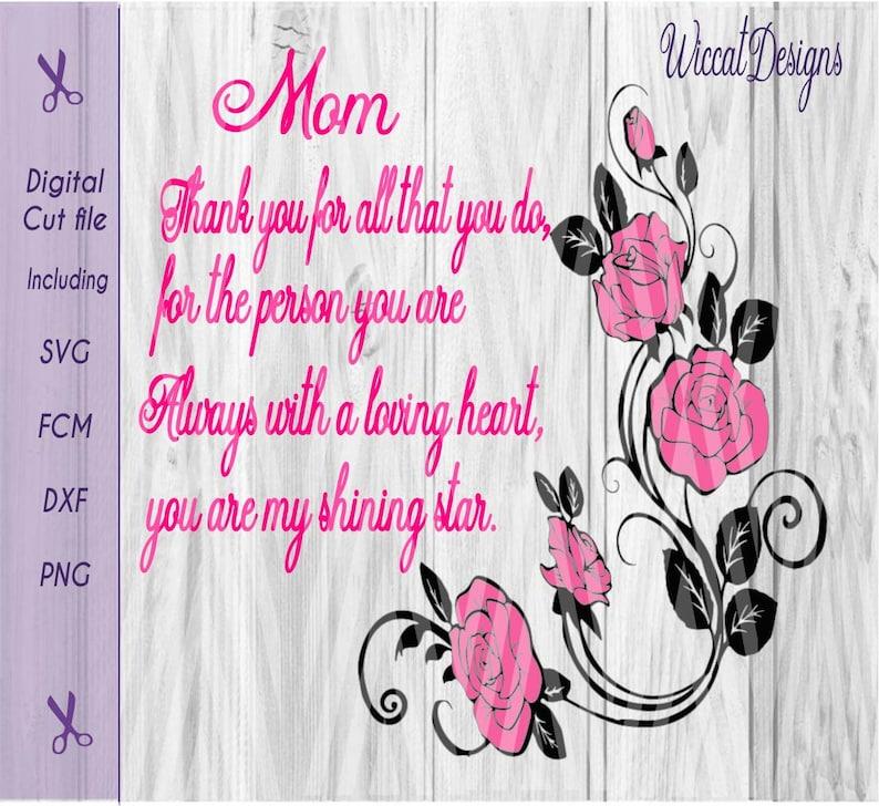 Mom quote svg Rose stem svg quote svg love svg Mom svg image 0