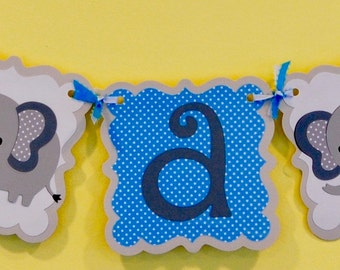 Elephant It's A Boy Baby Shower Banner. Colors can be Customized