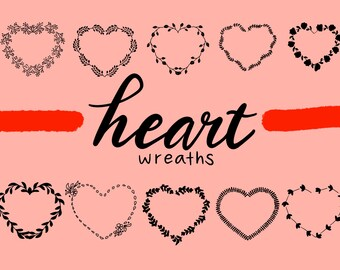 HEART FLORAL WREATHS Hand Drawn Wreaths Doodle Clipart Floral Rustic Png Svg Vector Wedding