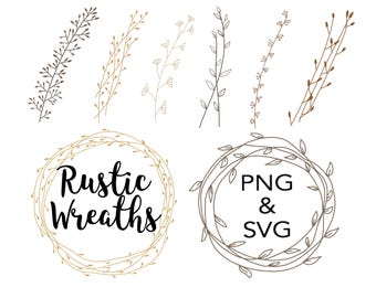 FLORAL WREATHS Hand Drawn Wreaths Doodle Clipart Floral Rustic Png Svg Vector Wedding