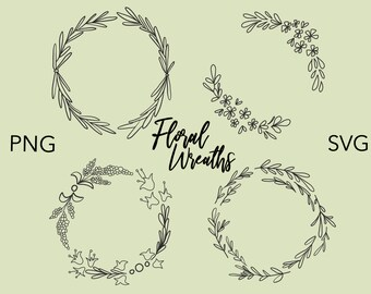 SIMPLE FLORAL WREATHS Hand Drawn Wreaths Doodle Clipart Floral Rustic Png Svg Vector Wedding Minimal