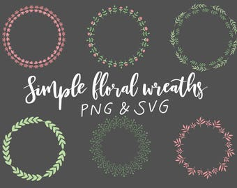 FLORAL WREATHS, hand-drawn wreaths, doodle clipart, drawn wreaths, png, svg, vector wreaths, wedding, cute wreaths, wreaths, flower, simple