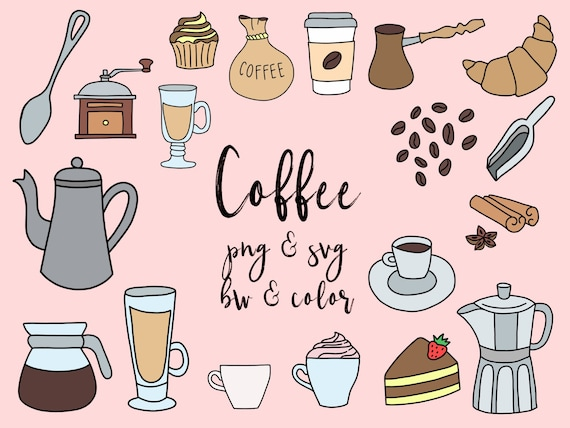 Kaffee Und Cafe Clipart Clipart Niedlich Doodles Vektor Etsy