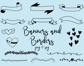 BANNERS and BORDERS CLIPART, clip art, cute, doodles, vector clipart, clipart, doodle clipart, hand-drawn clipart, banners, labels, borders