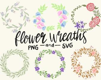 FLORAL WREATHS, hand-drawn wreaths, doodle clipart, drawn wreaths, png, svg, vector wreaths, wedding, cute wreaths, wreaths, flower frame