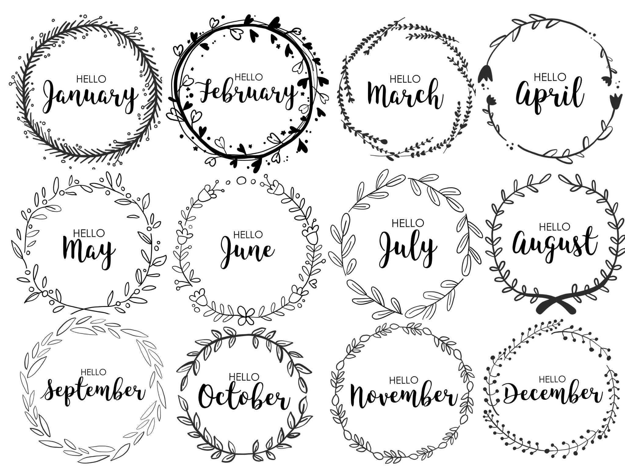 journal monthly covers wreath monthly bullet journal etsy