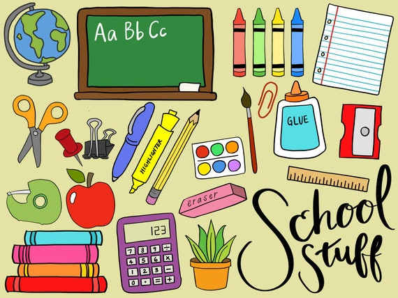 SCHOOL SUPPLIES CLIPART clip art school supplies office | Etsy
