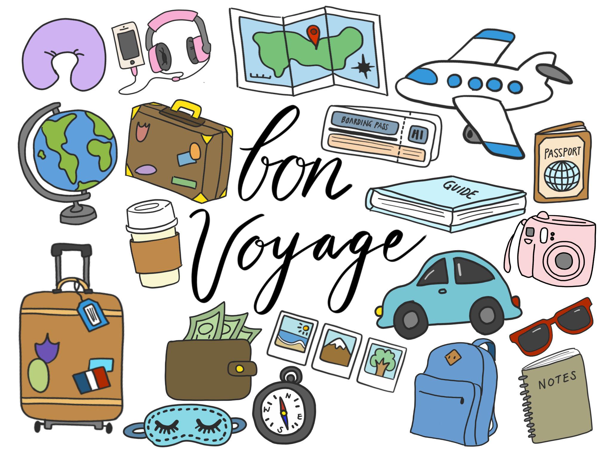 TRAVEL CLIPART clip art travel cute doodles vector   Etsy