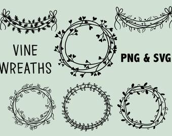 VINE LEAFY WREATHS, hand-drawn wreaths, doodle clipart, rustic, drawn wreaths, png, svg, vector wreaths, wedding, laurels, cute wreaths