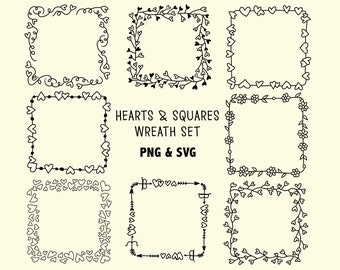 HEART SQUARE WREATHS, hand-drawn wreaths, doodle clipart, rustic, drawn wreaths, png, svg, vector wreaths, wedding, laurels