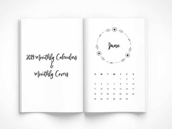 photograph relating to Bullet Journal Monthly Calendar Printable known as 2019 Regular CALENDAR, magazine month-to-month Protect, wreath, month to month, bullet magazine, printable bullet magazine, pdf, journaling, organizational