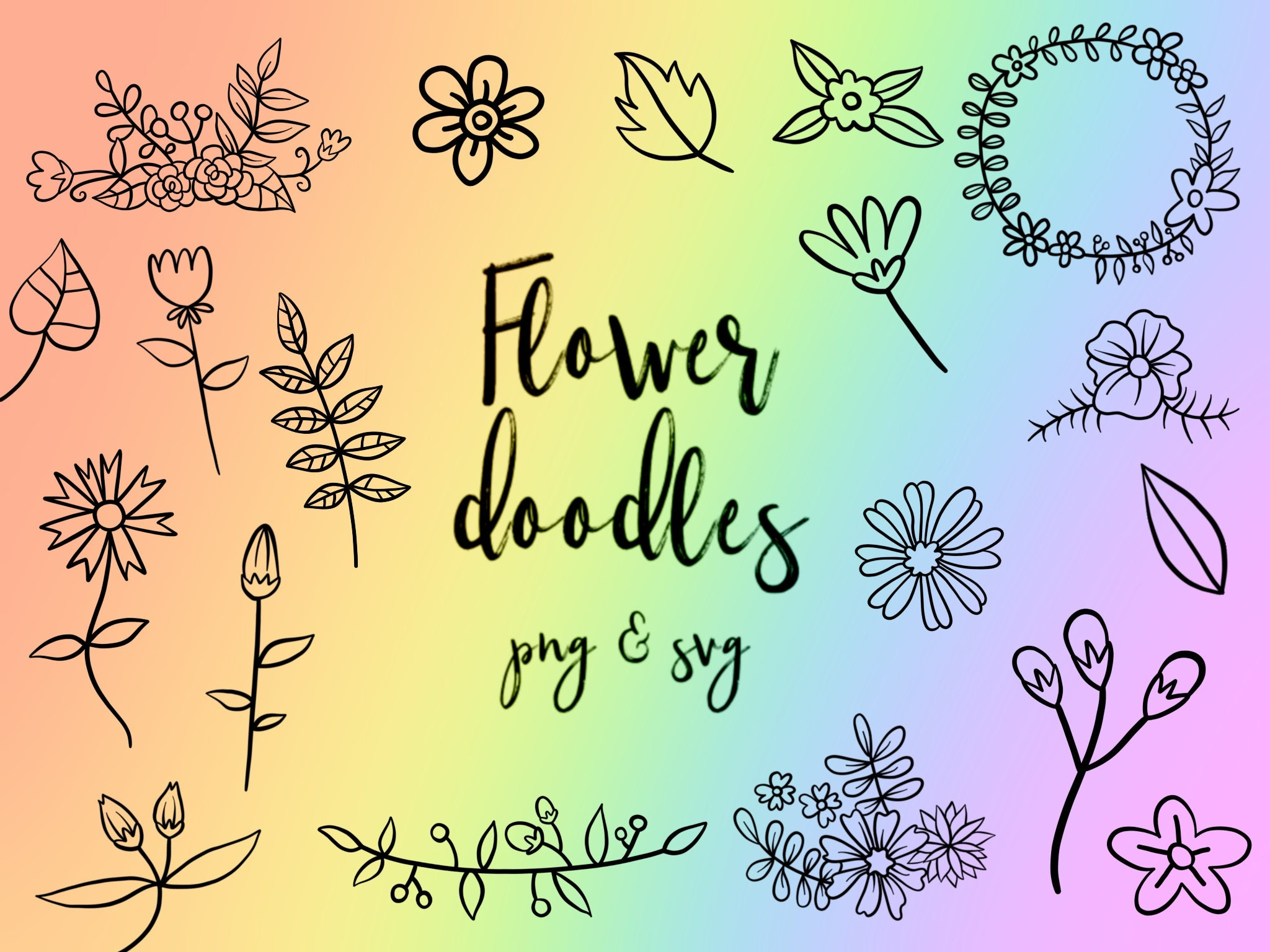FLOWER DOODLE CLIPART clip art cute doodles vector | Etsy