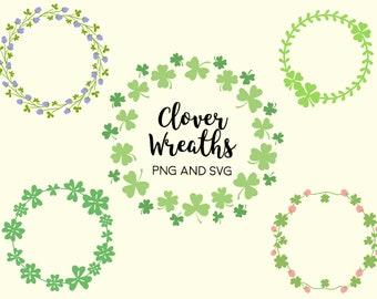 CLOVER FLORAL WREATHS, hand-drawn wreaths, doodle clipart, drawn wreaths, png, svg, vector wreaths, cute wreaths, wreaths, flower frame
