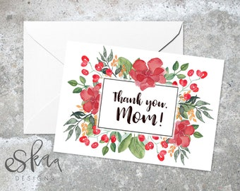 Thank you mother card, last minute card for mum, flowers for mom card, digital mom card, mothers day card, card from daughter, card for mom